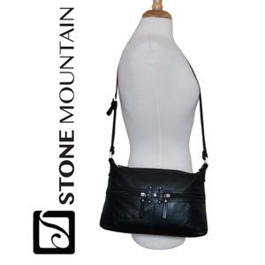 Stone Mountain Large Leather Black Crossbody